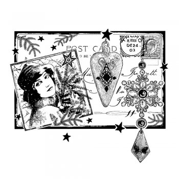 Crafty Individuals CI-369 - 'Postcard for Christmas' Art Rubber Stamp, 93mm x 80mm