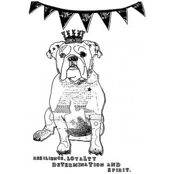 Crafty Individuals CI-370 - 'British Bulldog' Art Rubber Stamp, 72mm x 105mm