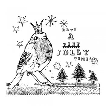 Crafty Individuals CI-375 - 'Jolly Robin' Art Rubber Stamp, 92mm x 80mm