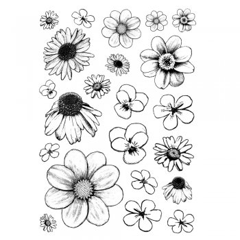 Crafty Individuals CI-206 - 'Flower Heads' Art Rubber Stamps, 96mm x 137mm