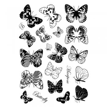 Crafty Individuals CI-231 - 'Beautiful Butterflies' Art Rubber Stamps, 96mm x 137mm