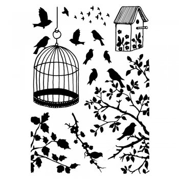 Crafty Individuals CI-234 - 'Birds, Branches and Cage' Art Rubber Stamps, 90mm x 128mm