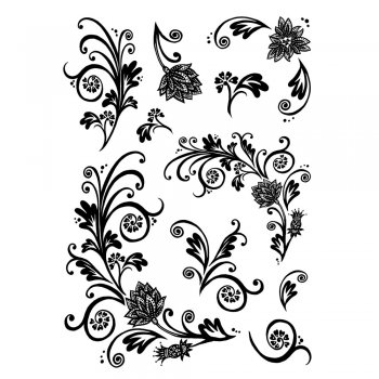Crafty Individuals CI-235 - 'Floral Flourishes and Swirls' Art Rubber Stamps, 90mm x 128mm