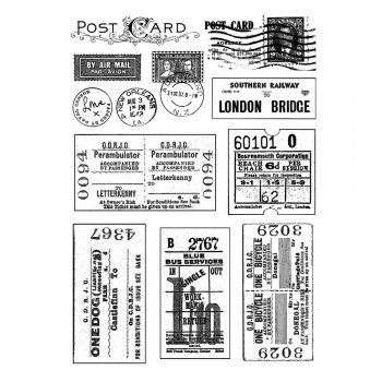 Crafty Individuals CI-239 - 'Vintage Tickets and Postmarks' Art Rubber Stamps, 90mm x 128mm