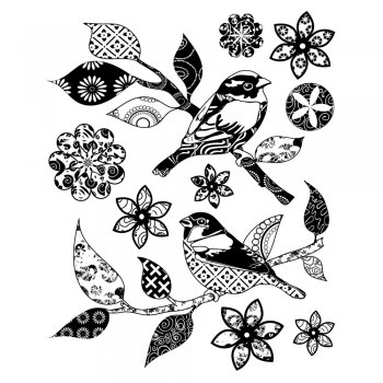 Crafty Individuals CI-248 - 'Patchwork Birds and Flowers' Art Rubber Stamps, 96mm x 119mm