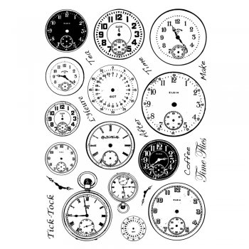 Crafty Individuals CI-255 - 'Tick Tock Clock Faces' Art Rubber Stamps, 96mm x 137mm