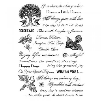 Crafty Individuals CI-256 - 'Handy Sentiments' Art Rubber Stamps, 96mm x 137mm