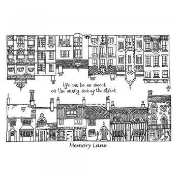 Crafty Individuals CI-274 - 'Memory Lane Houses' Art Rubber Stamps, 96mm x 137mm
