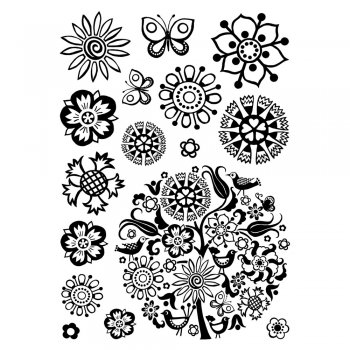 Crafty Individuals CI-293 - 'Floral Circle' Art Rubber Stamps, 96mm x 137mm