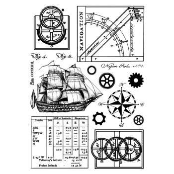 Crafty Individuals CI-294 - 'Ship and Navigation Elements' Art Rubber Stamps, 96mm x 137mm