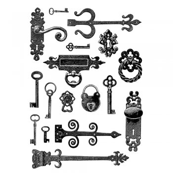 Crafty Individuals CI-304 - 'Keys, Locks, Hinges and Handles' Art Rubber Stamps, 96mm x 137mm