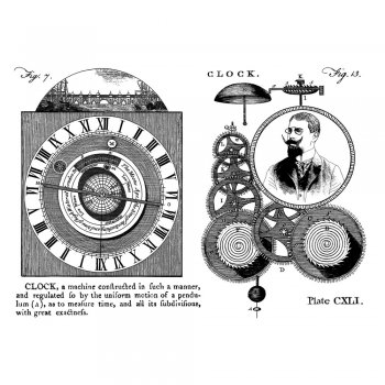Crafty Individuals CI-305 - 'Clock and Steampunk Gentleman' Art Rubber Stamps, 96mm x 137mm