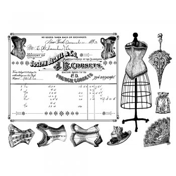Crafty Individuals CI-306 - 'French Corsets' Art Rubber Stamps, 96mm x 137mm