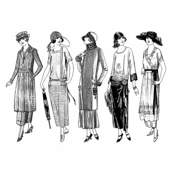 Crafty Individuals CI-323 - 'Fashionable Twenties Ladies' Art Rubber Stamps, 96mm x 137mm