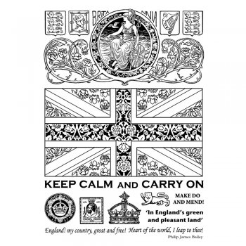 Crafty Individuals CI-334 - 'Keep Calm and Carry On' Art Rubber Stamps, 96mm x 137mm