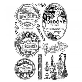 Crafty Individuals CI-341 - 'Vintage Perfumery' Art Rubber Stamps, 96mm x 137mm