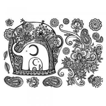 Crafty Individuals CI-351 - 'Sweet Elephants and Swirl' Art Rubber Stamps, 96mm x 137mm