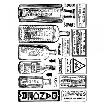 Crafty Individuals CI-360 - 'Poison and Danger' Art Rubber Stamps, 96mm x 137mm