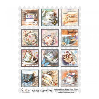 Crafty Individuals A4 Glossy Sheet - 'A Nice Cup of Tea'