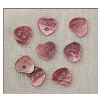 Must Haves - 'Pink Shell Heart Shaped Buttons', 10mm x 10mm