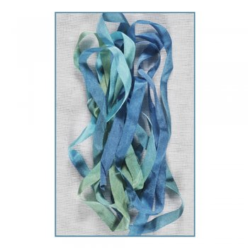 Stef Francis Must Haves - 'Blue/Green Hand Dyed Silk Ribbon (Col 21)' 7mm x 2 metres