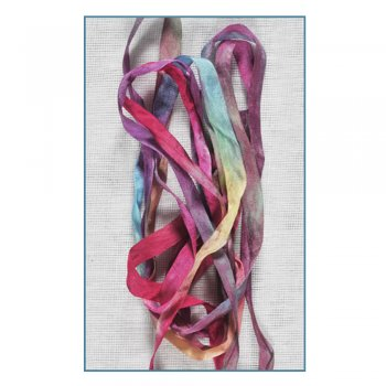 Must Haves - 'Pink/Blue/Green Hand Dyed Silk Ribbon (Col 49)' 7mm x 2 metres
