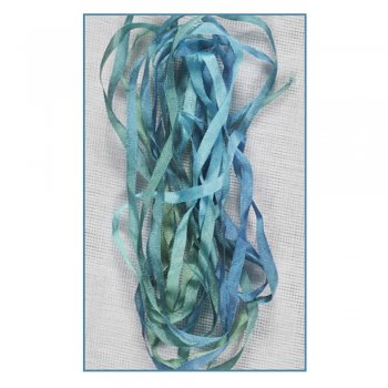 Stef Francis Must Haves - 'Blue/Green Hand Dyed Silk Ribbon (Col 21)' 4mm x 3 metres