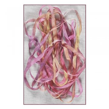 Stef Francis Must Haves - 'Pink/Yellow Hand Dyed Silk Ribbon (Col 36)' 4mm x 3 metres