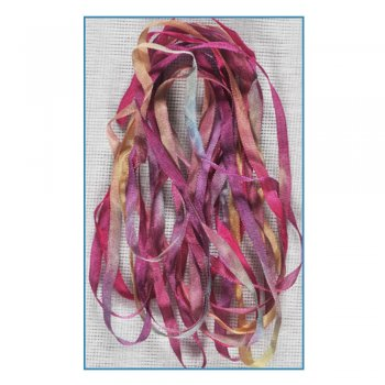 Stef Francis Must Haves - 'Pink/Blue/Green Hand Dyed Silk Ribbon (Col 49)' 4mm x 3 metres