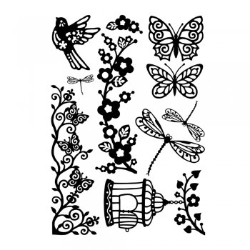 Crafty Individuals CI-364 - 'Pretty Design Elements' Art Rubber Stamps, 96mm x 137mm