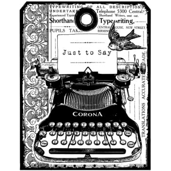 CI-455 - 'Chunky Vintage Typewriter Tag' Art Rubber Stamp, 68mm x 87mm