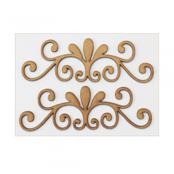 Fernli Must Haves - '2 Laser Cut MDF Curly Swirls', 100mm x 35mm