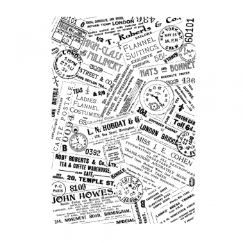 Crafty Individuals CI-461 - 'Vintage Ads Background' Art Rubber Stamp, 95mm x 137mm
