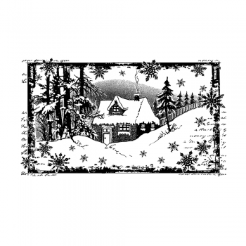 Crafty Individuals CI-463 - 'Little Cottage in the Snow' Art Rubber Stamp, 110mm x 64mm