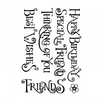 Crafty Individuals CI-464 - 'Everyday Curly Words' Art Rubber Stamps, 96mm x 137mm