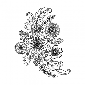 Crafty Individuals CI-466 - 'Floral Spray' Art Rubber Stamps, 90mm x 113mm