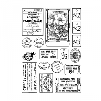 Crafty Individuals CI-469 - 'More Vintage Ephemera' Art Rubber Stamps, 96mm x 137mm