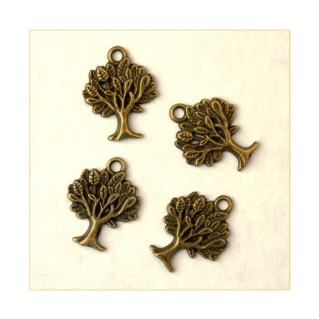 Must Haves - '4 Little Bronze Gold Tree Charms', up to 15mm x 20mm