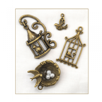 Must Haves - '4 Bronze Gold Birdcage and Nest Charms', up to 25mm x 35mm