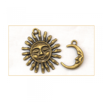 Must Haves - '2 Bronze Gold Sun and Moon Charms' up to 30mm x 35mm