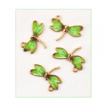 Must Haves - '4 Enamelled and Gold Dragonfly Charms', 22mm x 17mm