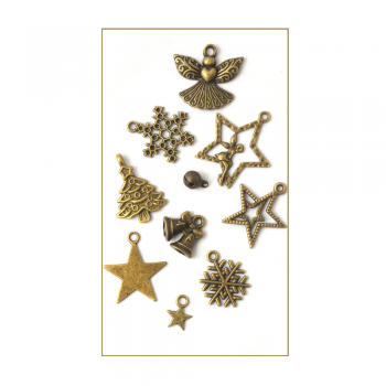 Must Haves - '10 Bronze Gold Christmas Charms', up to 25mm x 30mm