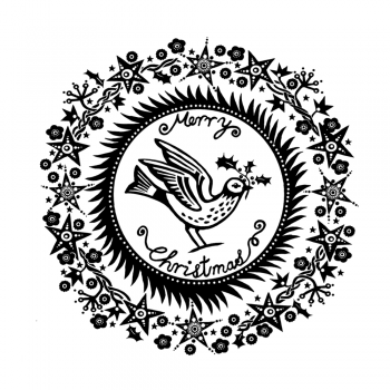 Crafty Individuals CI-475 - 'Christmas Holly Bird' Art Rubber Stamp, 93mm x 93mm