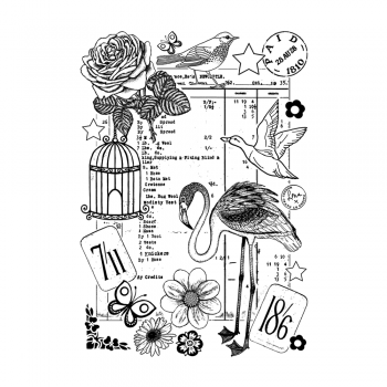 Crafty Individuals CI-480 - 'A Pictorial Invoice' Art Rubber Stamp, 96mm x 137mm