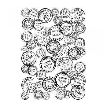 Crafty Individuals CI-481 - 'Vintage Postmarks Background' Art Rubber Stamp, 96mm x 137mm