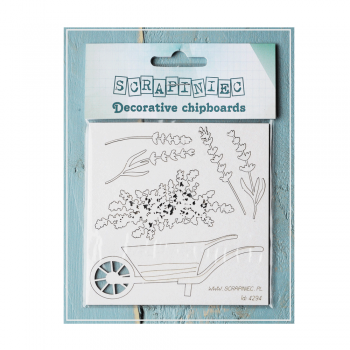 Scrapiniec Must Haves - 'Wheelbarrow - Lavender Mist, Decorative Laser Cut Chipboard' 90mm x 45mm