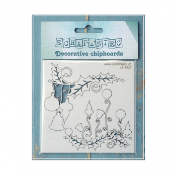 Scrapiniec Must Haves - 'Holly Jolly Decorations, Decorative Laser Cut Chipboard', up to 80mm x 70mm