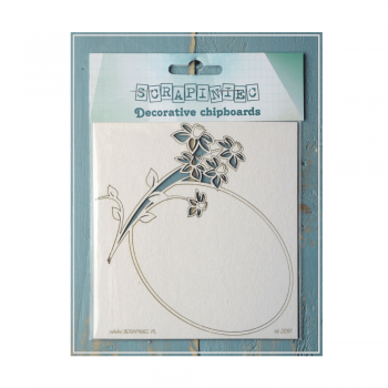 Scrapiniec Must Haves - 'Daffodil Frame, Decorative Laser Cut Chipboard', 125mm x 105mm