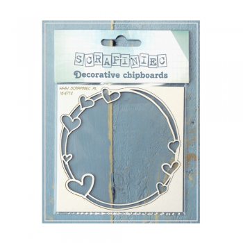 Scrapiniec Must Haves - 'Mamma's Heart Small Round Frame, Decorative Laser Cut Chipboard', 90mm x 90mm