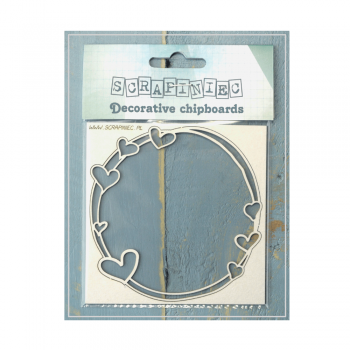 Scrapiniec Must Haves - 'Mamma's Heart Large Round Frame, Decorative Laser Cut Chipboard', 135mm x 135mm